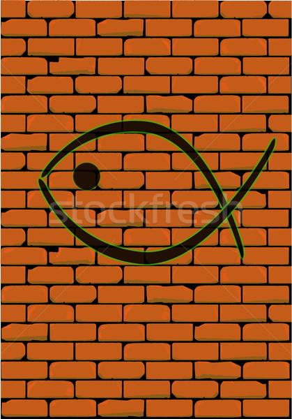 Christian ryb graffiti cegły pomarańczowy karty Zdjęcia stock © Bigalbaloo