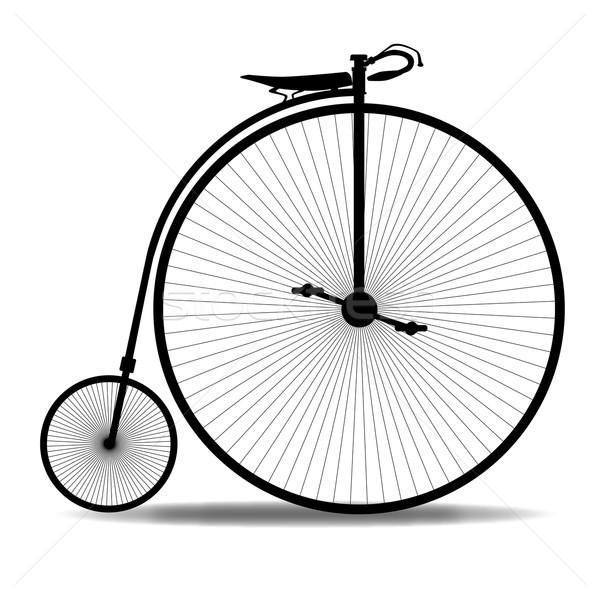 пенни силуэта типичный велосипед белый ретро Сток-фото © Bigalbaloo