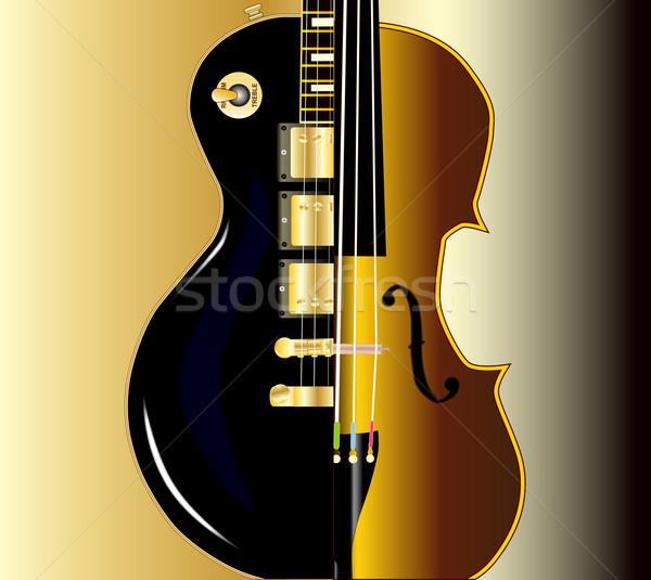 Viool gitaar moderne rock meer traditioneel Stockfoto © Bigalbaloo