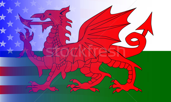 Wales Dragon Stars and Stripes Stock photo © Bigalbaloo