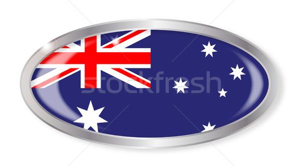 Australiano bandera oval botón plata aislado Foto stock © Bigalbaloo