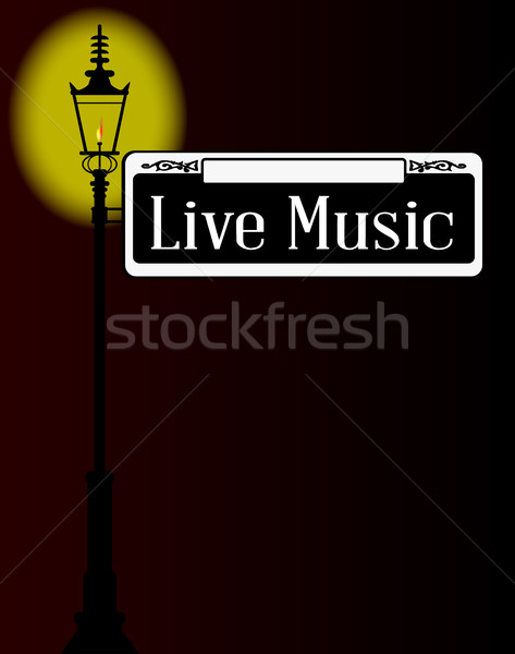 Live Music Sign With Lamp Stock photo © Bigalbaloo