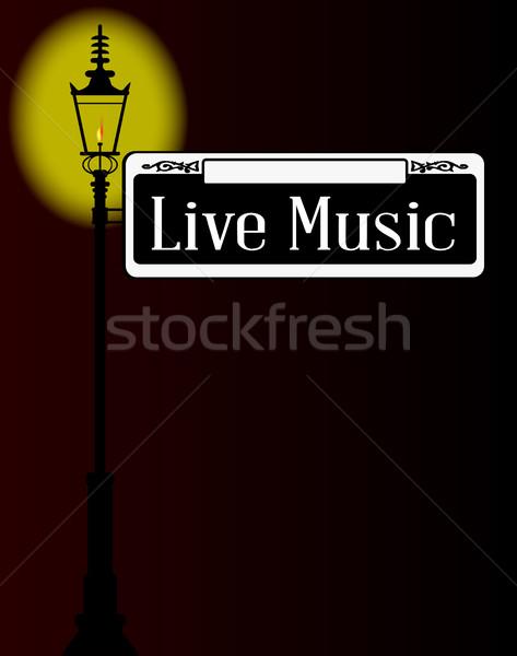 Vivere musica segno lampada segnale stradale vecchio Foto d'archivio © Bigalbaloo