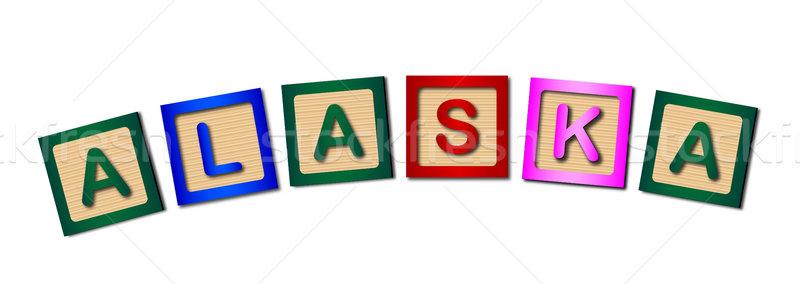 Alaska bois lettres ensemble orthographe blanche Photo stock © Bigalbaloo