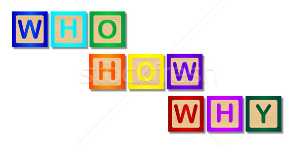 Who How Why Wooden Block Letters Stock photo © Bigalbaloo