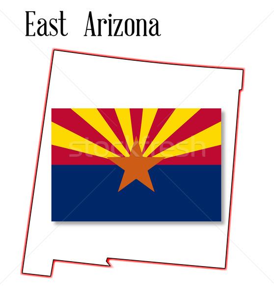 East Arizona Map and Flag Stock photo © Bigalbaloo