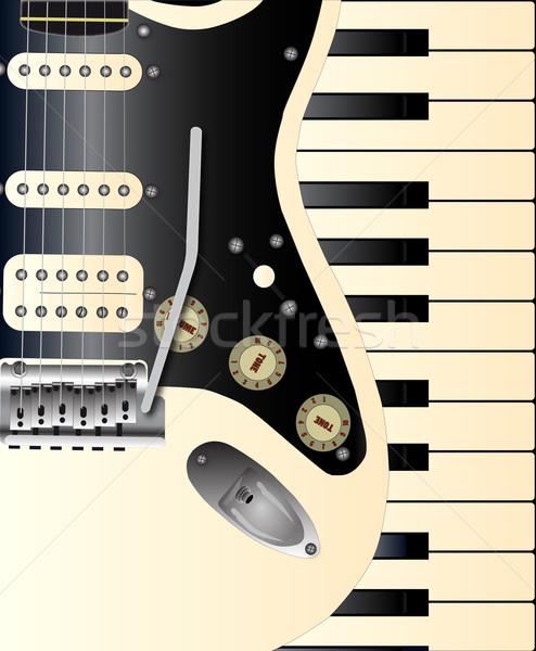 Muzyki solidny ciało gitara elektryczna zestaw starych Zdjęcia stock © Bigalbaloo