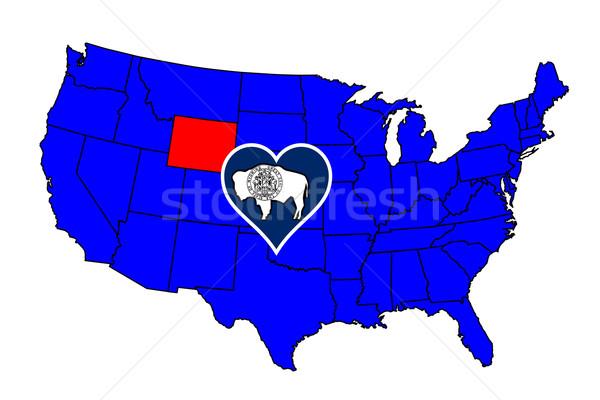 Wyoming icône carte États-Unis Photo stock © Bigalbaloo