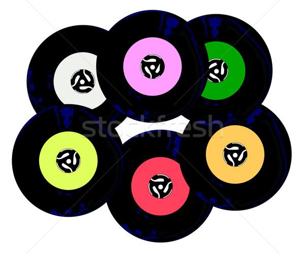Toplama rpm kayıtlar etiketler beyaz oynamak Stok fotoğraf © Bigalbaloo