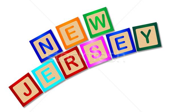 New Jersey houten brieven collectie spelling witte Stockfoto © Bigalbaloo