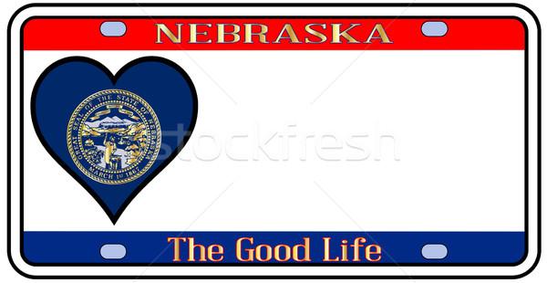 Nebraska plaka renkler bayrak simgeler beyaz Stok fotoğraf © Bigalbaloo