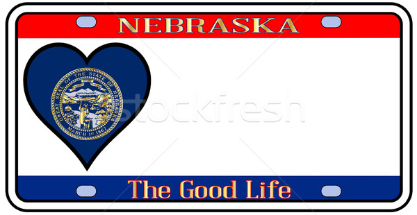 Nebraska placa colores bandera iconos blanco Foto stock © Bigalbaloo