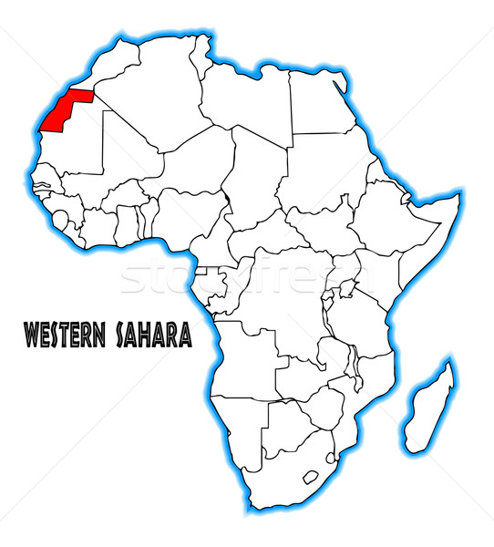 Westerse sahara schets kaart afrika witte Stockfoto © Bigalbaloo