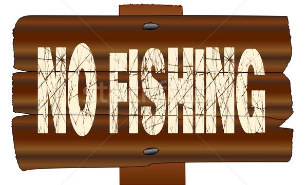 No Fishing Wooden Sign Stock photo © Bigalbaloo