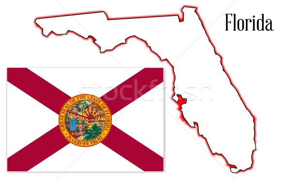 Florida State Map and Flag Stock photo © Bigalbaloo