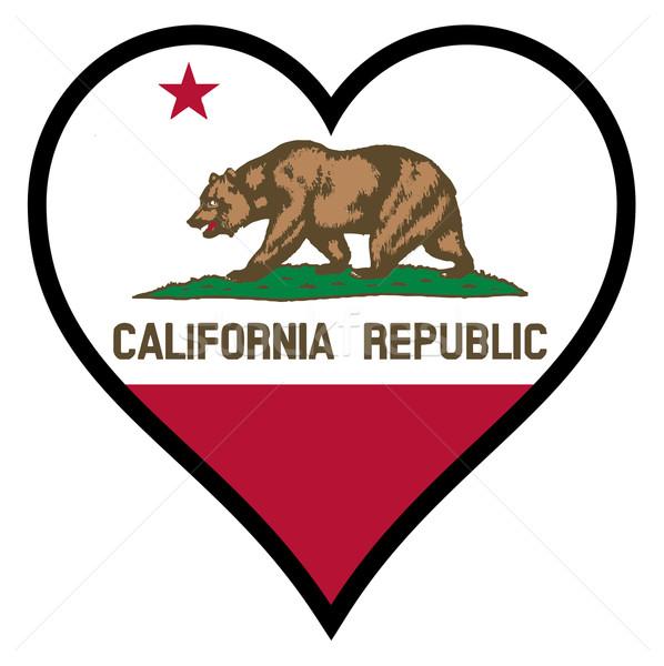 Sevmek Kaliforniya bayrak kalp tüm beyaz Stok fotoğraf © Bigalbaloo