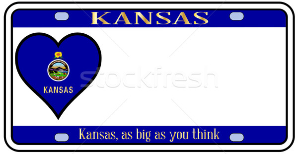 Канзас номерной знак цветами флаг иконки белый Сток-фото © Bigalbaloo