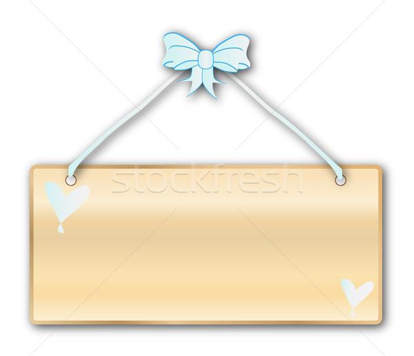Plaque hellblau Band Bogen weiß Stock foto © Bigalbaloo