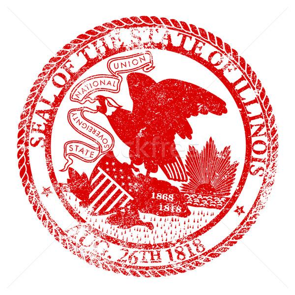 Иллинойс печать штампа белый красный Сток-фото © Bigalbaloo