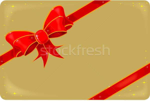 шелковые лента золото карт тег настоящее Сток-фото © Bigalbaloo