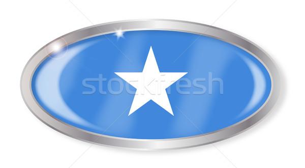 Somali banderą owalny przycisk srebrny odizolowany Zdjęcia stock © Bigalbaloo