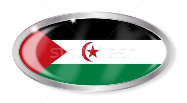 Stock fotó: Western · Szahara · zászló · ovális · gomb · ezüst