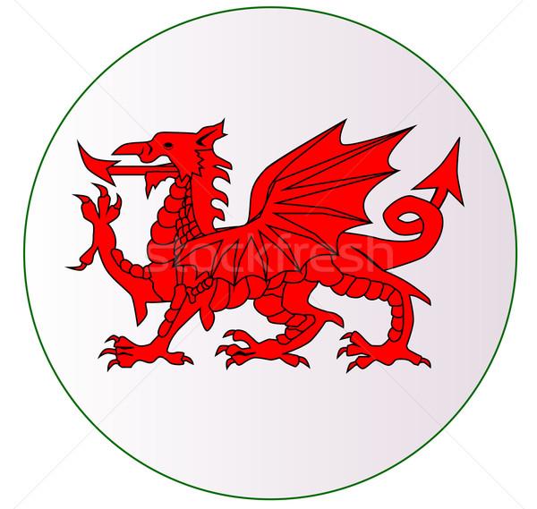 Welsh Dragon Button Stock photo © Bigalbaloo