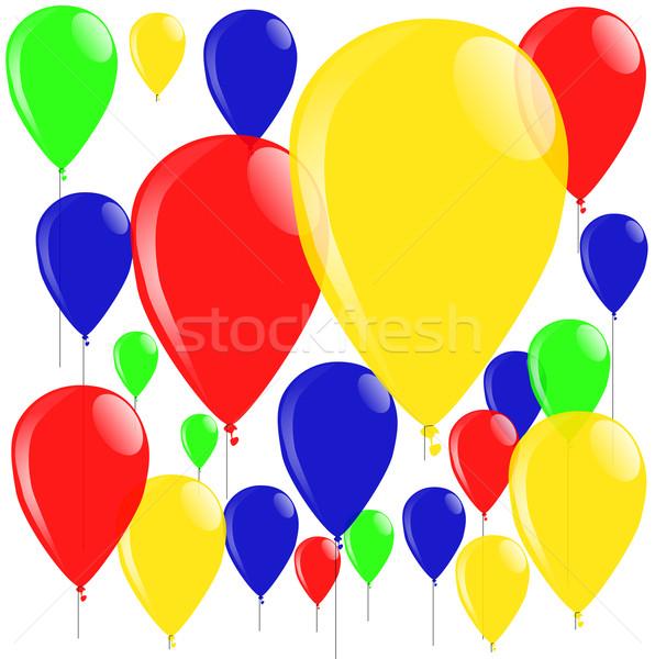 Balonlar renkli toplama yeşil kırmızı gaz Stok fotoğraf © Bigalbaloo