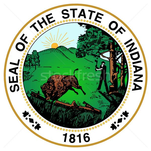 Indiana zegel groot tekening grafische Verenigde Staten Stockfoto © Bigalbaloo