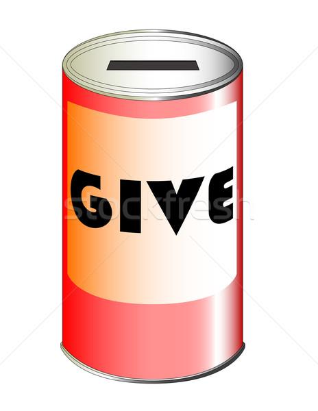 Dar estanho lata vermelho caridade conjunto Foto stock © Bigalbaloo