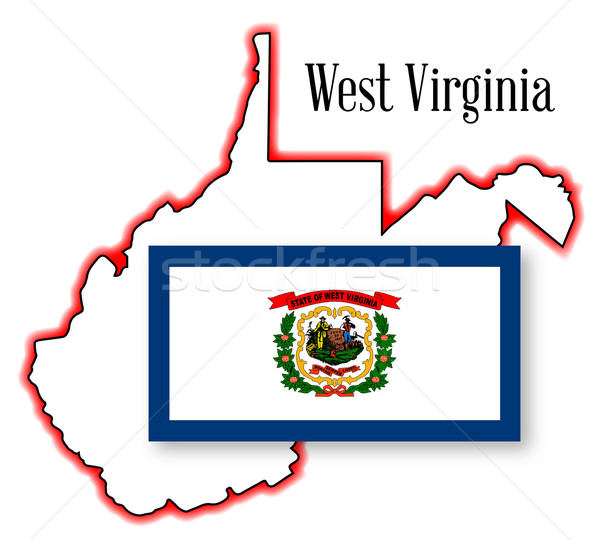 West Virginia kaart vlag schets witte Stockfoto © Bigalbaloo