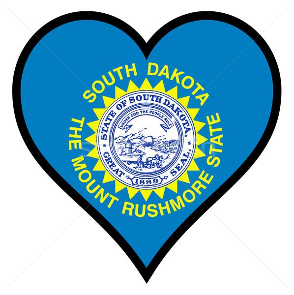 Liefde South Dakota vlag hart alle witte Stockfoto © Bigalbaloo