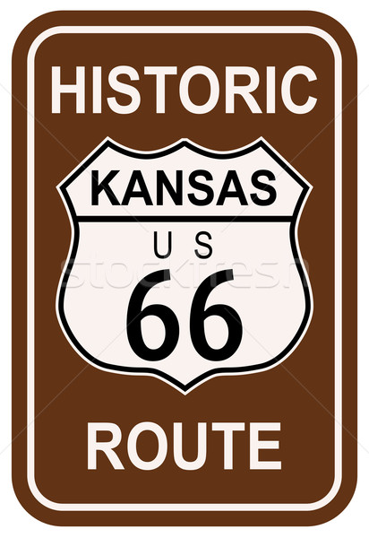 Stockfoto: Kansas · historisch · route · 66 · verkeersbord · legende · route