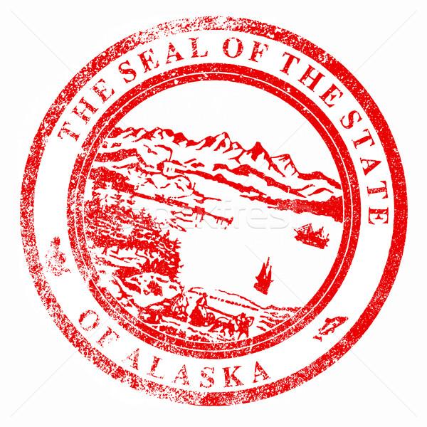 Аляска печать штампа красный чернила белый Сток-фото © Bigalbaloo