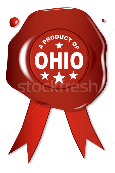 Product Ohio wax zegel tekst Rood Stockfoto © Bigalbaloo