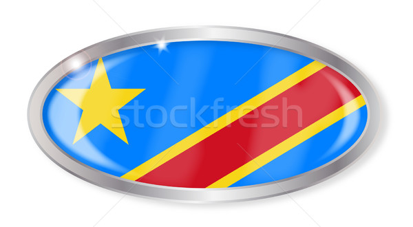 Demokratikus köztársaság Kongó zászló ovális gomb Stock fotó © Bigalbaloo