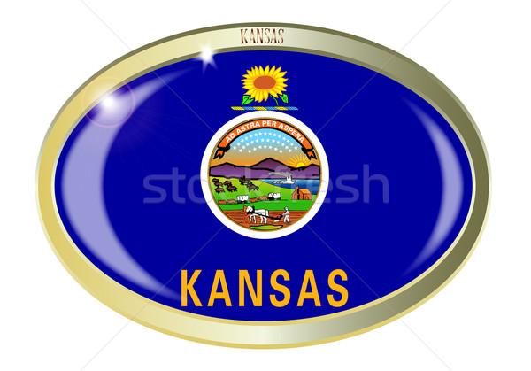 Kansas bayrak oval düğme Metal yalıtılmış Stok fotoğraf © Bigalbaloo
