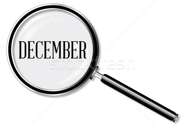 декабрь увеличительное стекло стекла белый календаря полиции Сток-фото © Bigalbaloo