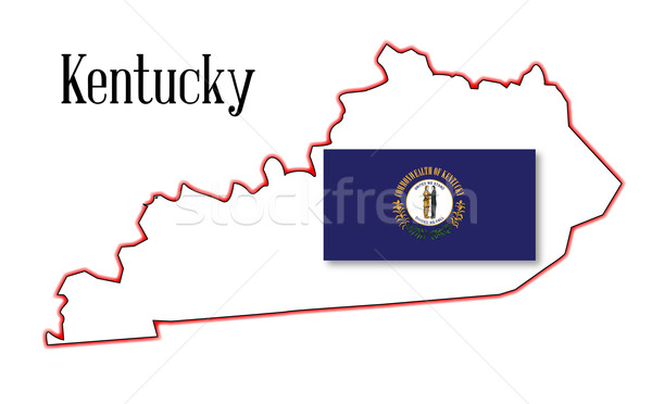 Stock photo: Kentucky State Map and Flag
