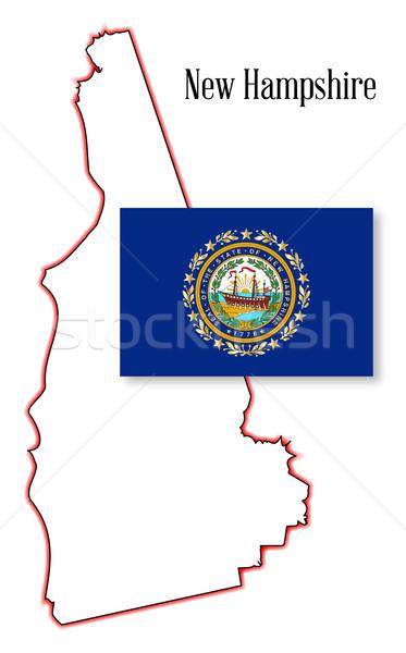 Stok fotoğraf: New · Hampshire · harita · bayrak · çizim · Amerika