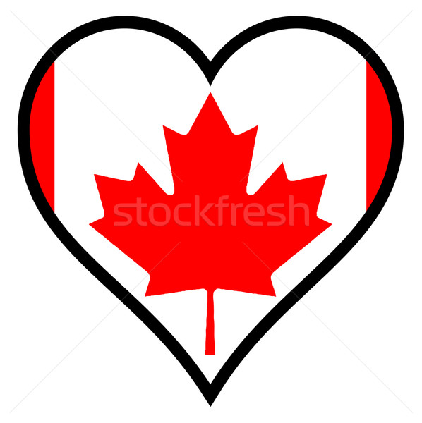 Amour Canada drapeau canadien coeur tous blanche Photo stock © Bigalbaloo