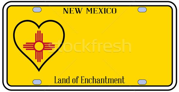Нью-Мексико лицензия номерной знак цветами флаг иконки Сток-фото © Bigalbaloo