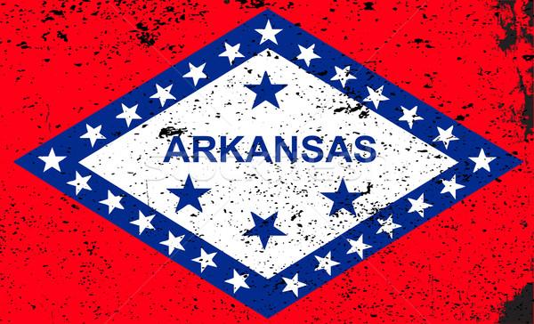 Arkansas zászló USA grunge csillagok fehér Stock fotó © Bigalbaloo