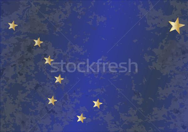 Pavillon Alaska grunge étoiles bleu or Photo stock © Bigalbaloo