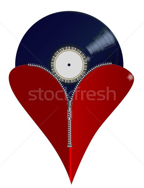 Szeretet zene cipzár szív piros mutat Stock fotó © Bigalbaloo
