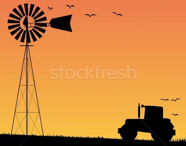 Farm Sunset Stock photo © Bigalbaloo