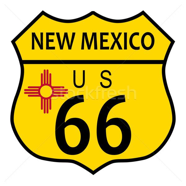 Route 66 New Mexico bayrak trafik işareti beyaz ad Stok fotoğraf © Bigalbaloo