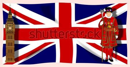 Vakantie kanaal tv computerscherm union jack vlag Stockfoto © Bigalbaloo