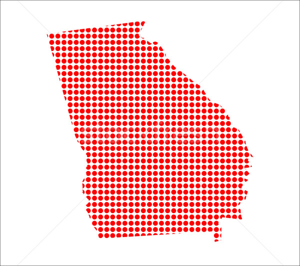 Red Dot Map of Georgia Stock photo © Bigalbaloo