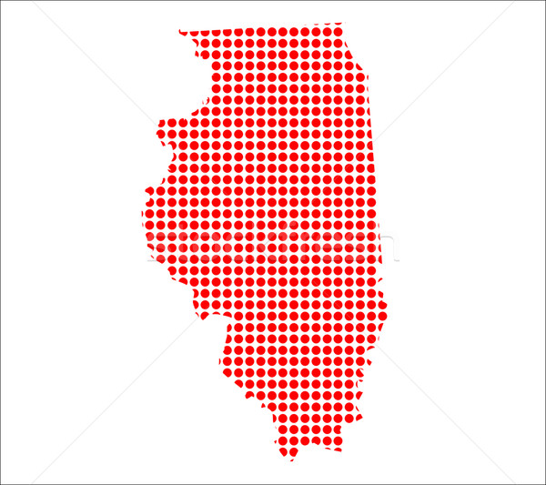 Red Dot Map of Illinois Stock photo © Bigalbaloo